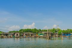 Unseen in Thailand. Scenery of Fishing village The No-Land Village at Bang Chan,. Khlung, Chanthaburi, Thailand royalty free stock photography