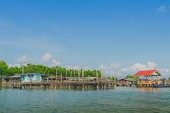 Unseen in Thailand. Scenery of Fishing village The No-Land Village at Bang Chan,. Khlung, Chanthaburi, Thailand stock photography