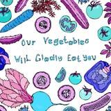 Unser Gemüse isst Sie froh Beschriftung Verrückter Schlag-Gurken-Tomaten-grüner Pfeffer Caroot Räuberisches Gemüse Lizenzfreie Stockbilder