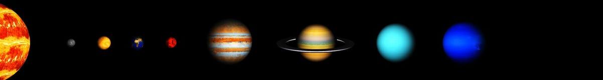 Unsere acht Planeten des Sonnensystems stockfoto