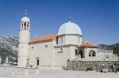 Unsere Dame der Felsen in Perast, Montenegro Stockfotografie