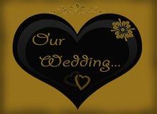 Unsere Hochzeits-Schwarz-Goldeinladungs-Karte Lizenzfreies Stockfoto