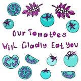 Unsere Tomaten essen Sie froh Beschriftung Verrückte blaue Türkis-Tomaten mit rosa Blättern Räuberische Gemüse-Reihe Stockfoto