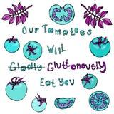 Unsere Tomaten essen Sie froh Gluttonously Beschriftung Verrückte blaue Türkis-Tomaten mit rosa Blättern räuberisch Lizenzfreies Stockfoto
