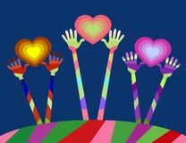 unsere Welt hat viele Farben, Freude, Freundschaft und Liebe Stockbild