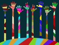 Unsere Welt hat viele Farben, Freude und Freundschaft Stockbild