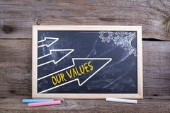 Unsere Werte Alter hölzerner Hintergrund mit Beschaffenheit und Kreide blackbo lizenzfreies stockbild
