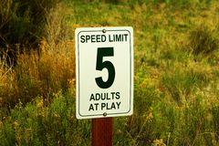 Unserious ,,Adults at play traffic sign Stock Photo