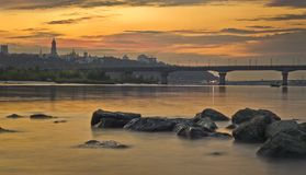 Unset over the city and the beach. In Kiev stock photo