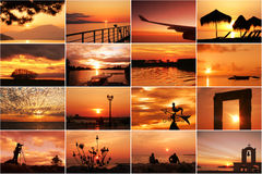 Unset and sunrise collage. Of landscapes royalty free stock photography
