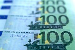 Unsharp предпосылка коллаж от банкнот евро Стоковая Фотография