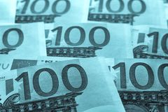 Unsharp предпосылка коллаж от банкнот евро Стоковое фото RF