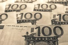 Unsharp предпосылка коллаж от банкнот евро Стоковые Изображения