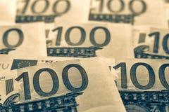 Unsharp предпосылка коллаж от банкнот евро Стоковое Фото