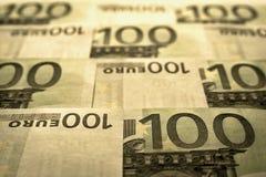 Unsharp предпосылка коллаж от банкнот евро Стоковая Фотография RF