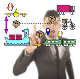 Unsharp businessman with logistic movements Royalty Free Stock Photography