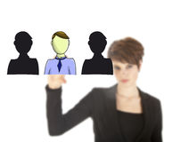 Unsharp young business woman selecting virtual friends isolated Royalty Free Stock Photo