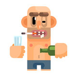 Unshaved Alcoholic With Rotten Teeth, Revolting Homeless Person, Dreg Of Society, Pixelated Simplified Male Vagabond Royalty Free Stock Images