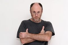 Unshaved disheveled man frown Royalty Free Stock Photos