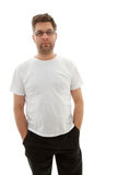 Unshaved Mann, der Kamera untersucht Lizenzfreies Stockbild
