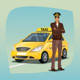 Unshaved taxi driver with yellow car Royalty Free Stock Image