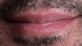 Unshaven Adult Male Smiling Lips Macro Close Up Footage. stock video