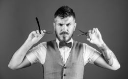 Unshaven barber in bow tie. businessman grooming in morning. perfect beard. Male fashion. Bearded hipster hold shaving. Blade. barbershop master with scissors stock photos