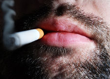 Unshaven smoker Stock Photo