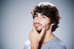 Unshaven Young Man Thinking Stock Photos