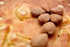 Unshelled almond nuts on a freshly backed frangipane tart or cake.  Royalty Free Stock Photos