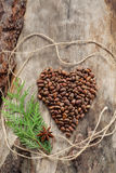 Unshelled pine nuts in form of heart on aged wood Stock Photo