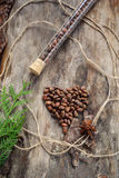 Unshelled pine nuts in form of heart on aged wood Royalty Free Stock Images