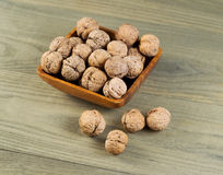Unshelled Walnuts in Bowl Stock Photo