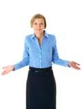 Unsichere blonde Frau, getrennt auf Weiß Lizenzfreie Stockbilder