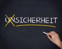 Χέρι που διασχίζει έξω τη γερμανική λέξη unsicherheit Στοκ Φωτογραφία