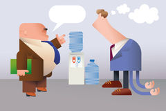 Unskilful employee. Funny office folks. The boss is giving directives to the awkward employee. Editable vector illustration Royalty Free Stock Images