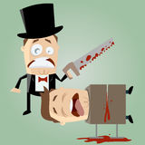 Unskilled magician with a saw. Illustration of an unskilled magician with a saw Royalty Free Stock Photo