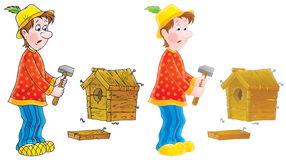 Unskillful carpenter Royalty Free Stock Images