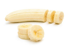 Unskin banana slices Stock Photography