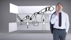 Unsmiling biznesmen pozycja obraz stock