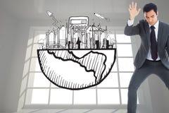 Unsmiling biznesmena łapanie Obraz Stock