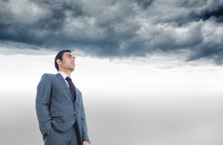 Unsmiling businessman standing Stock Images