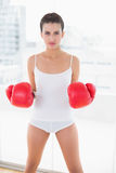 Unsmiling natural brown haired woman in white sportswear wearing boxing gloves Stock Images