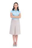 Unsmiling stilvolle Geschäftsfrauaufstellung Stockfotos