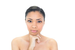 Unsmiling young dark haired model holding her chin Royalty Free Stock Photography