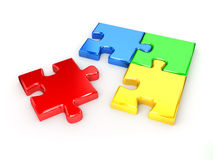 Unsolved puzzle from blue, red, green and yellow Stock Photo