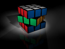 Unsolved rubik's cube on black Royalty Free Stock Photography