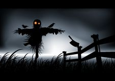 Unspeakable Horror - Scarecrow. Lonely, dark and evil is this scarecrow. Get ready for halloween with style. Vector illustration Royalty Free Stock Photos