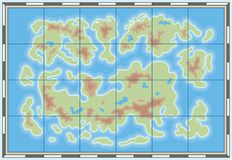 Map icon. Unspecified map with land and sea Royalty Free Stock Images