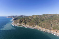 Unspoiled Malibu California Coast. Aerial view of Pacific Coast Highway near Sycamore Cove north of Malibu California Royalty Free Stock Image